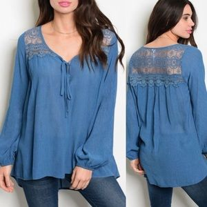 Indigo lace top